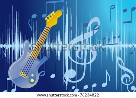 Abstract Guitar illustration. Raster. Vector available, - stock vector