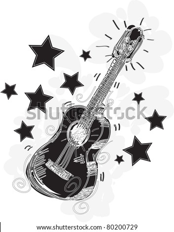 Abstract Guitar Sketchy A fun sketchy stylized illustration of a guitar. - stock vector
