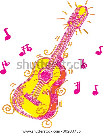 Abstract Guitar Sketchy A fun sketchy stylized illustration of a guitar. Separated into layers for easy modification. - stock vector