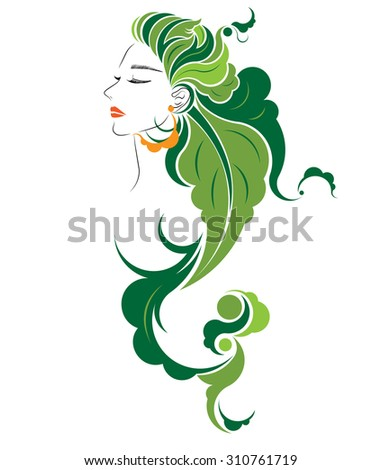 abstract hair style icon, logo women face and leaves hair on white background. - stock vector