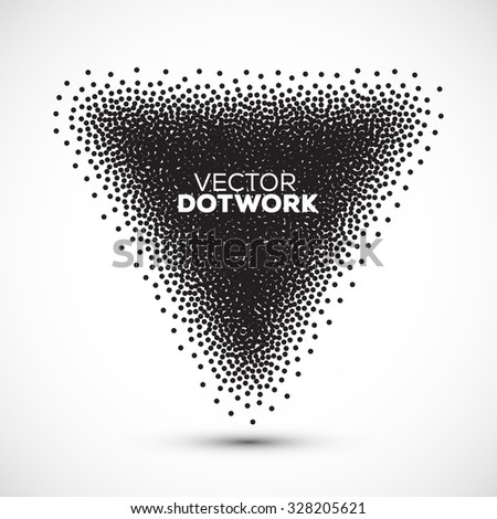 Abstract Halftone Background. Dotwork Triangle. Vintage Engraved Banner. Vector illustration. - stock vector