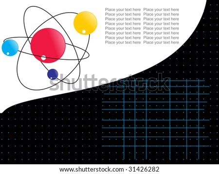 abstract halftone background with atomic structure - stock vector