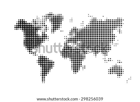 Abstract Halftone Design world map. black dots. vector illustration - stock vector
