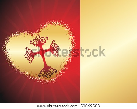 abstract halftone pattern background with cross in golden heart - stock vector