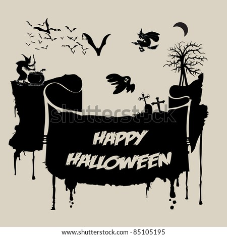 Abstract Halloween Background - Various Spooky Creatures in the Dark - stock vector