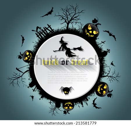 Abstract Halloween background  with  graveyard, witch, pumpkin, bats and text place - stock vector