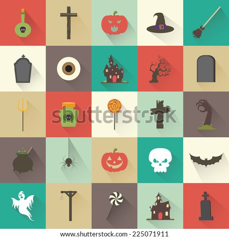 abstract halloween objects on squares with different color - stock vector