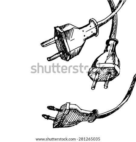 Abstract hand draw sketch background with cable wire and plug.  - stock vector