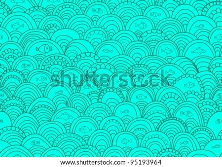 Abstract hand-drawing Seamless pattern with fish and waves, can be used for wallpaper, pattern fills, web page background, surface textures,vector illustration - stock vector