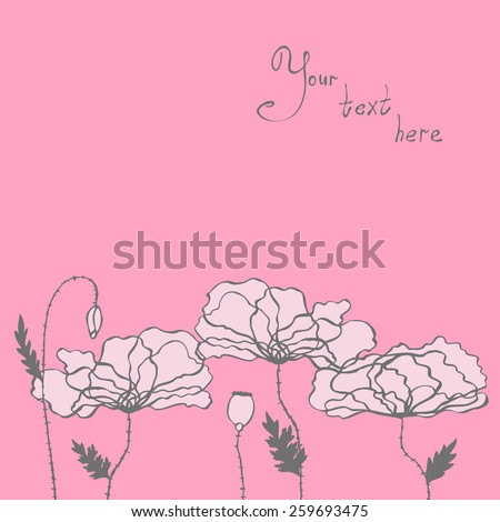 Abstract hand-drawn background of stylized flowers in pink tones - stock vector