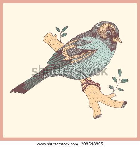 abstract hand drawn bird - stock vector