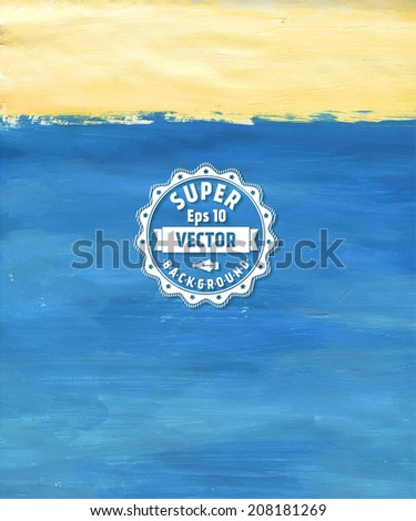 Abstract hand drawn color background, acrylic spot on wet paper. abstract hand painted background - stock vector