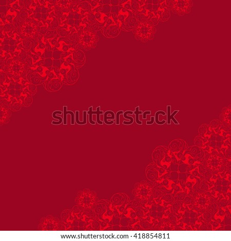 Abstract hand-drawn creative background of stylized flowers in bright red and maroon colors. Vector illustration.