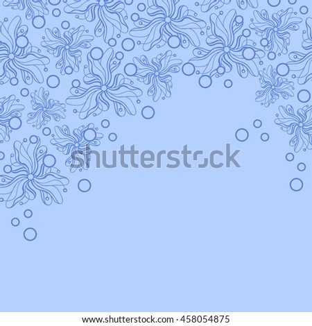 Abstract hand-drawn creative background of stylized flowers in pale cornflower blue and azure colors. Vector illustration.