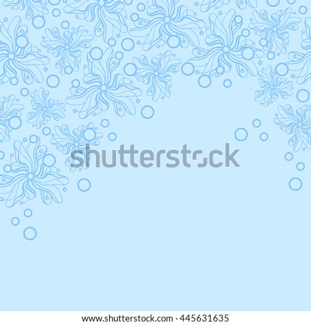 Abstract hand-drawn creative background of stylized flowers in pale cyan and cornflower blue colors. Vector illustration.