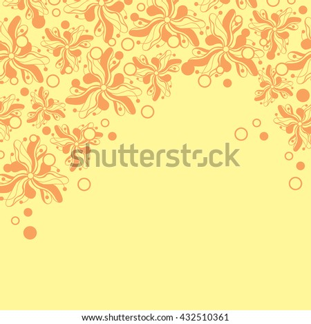 Abstract hand-drawn creative background of stylized flowers in pale yellow and peach-orange colors. Vector illustration.