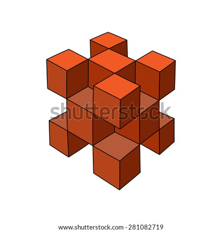 Abstract hand-drawn 3d cube logo or design template. Vector graphics. - stock vector
