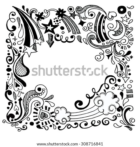 abstract hand drawn Doodle Design Elements black and white background ,Vector illustration. - stock vector