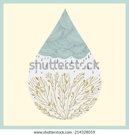 abstract hand drawn drop with clouds, rain and trees - stock vector