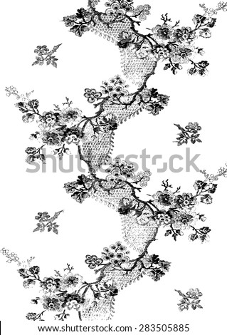 Abstract hand-drawn floral pattern, vintage background decoration. Twigs of leaves isolated for wallpaper, textile, pattern fills, web page background, surface textures, packaging, and invitations - stock vector