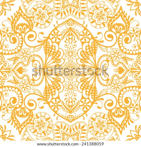 Abstract hand drawn graphic pattern, floral and geometric ornament, seamless texture, ornate vector background - stock vector