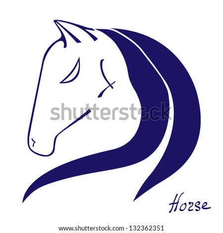 abstract hand drawn horse head silhouette vector