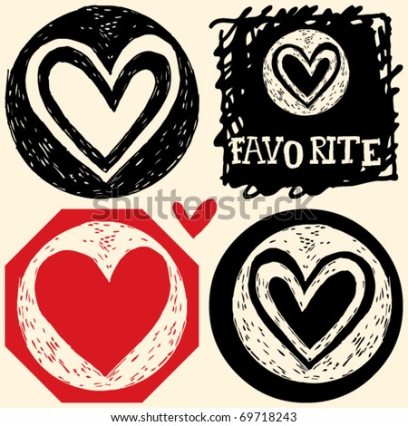 abstract hand drawn icons, doodle heart - stock vector