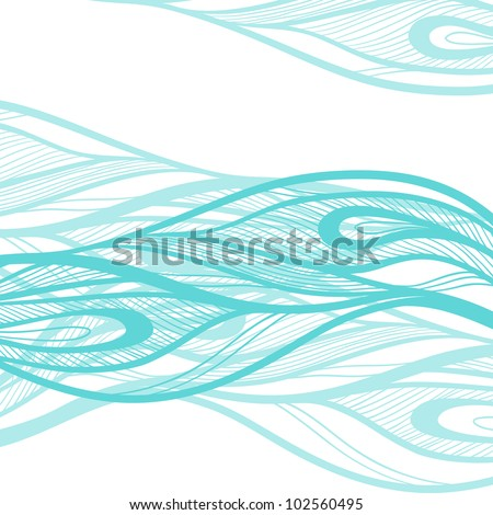 Abstract hand drawn illustration, decotative waves background. - stock vector