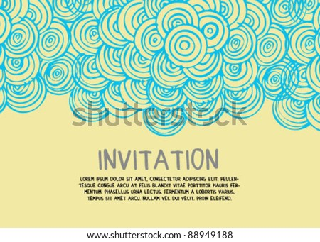 Abstract Hand Drawn Invitation Card - stock vector