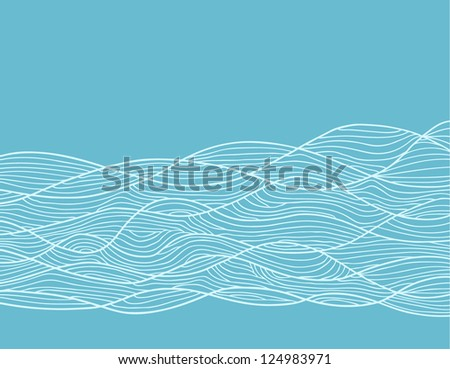 abstract hand-drawn pattern, waves background - stock vector