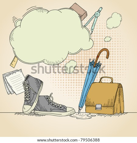 Abstract hand drawn school background with sneakers. Vector illustration. - stock vector