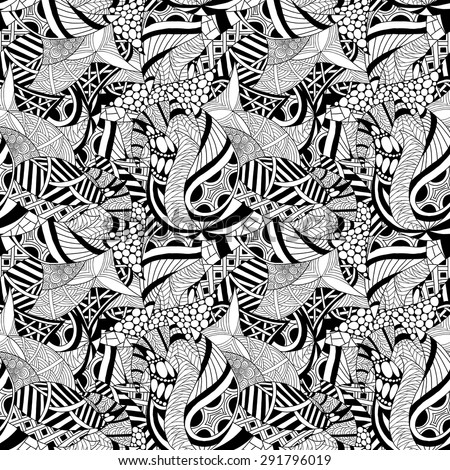 Abstract hand-drawn seamless pattern. Vector Illustration in black and white colors.