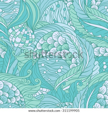 Abstract hand drawn underwater sea flora seamless pattern,  decorative waves vector background