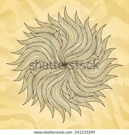 Abstract hand drawn vector illustration. Old paper texture. Round decorative background.