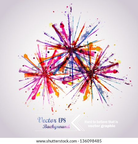 Abstract hand drawn watercolor background firework ,vector illustration, stain watercolors colors wet on wet paper. Watercolor composition for scrapbook elements. Celebration card. - stock vector