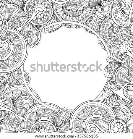 Abstract hand drawn zentangle style frame. Doodle art decorative border. - stock vector
