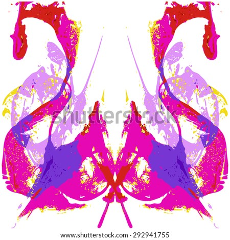 Abstract hand painted string-pull watercolor ink rorschach. EPS 10 Vector Background - stock vector