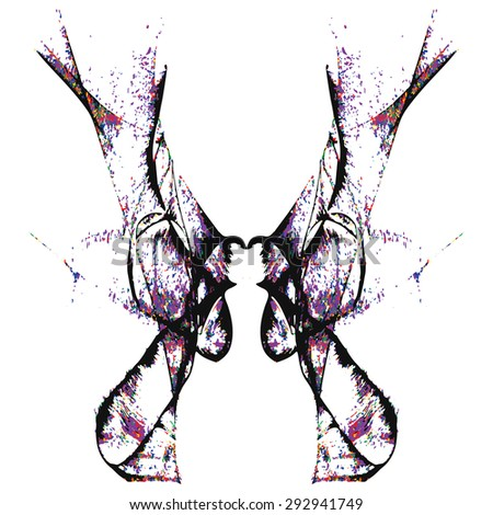 Abstract hand painted string-pull watercolor ink rorschach grunge.  EPS 10 Vector Background - stock vector