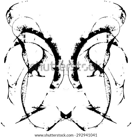 Abstract hand painted string-pull watercolor ink rorschach grunge vector  - stock vector