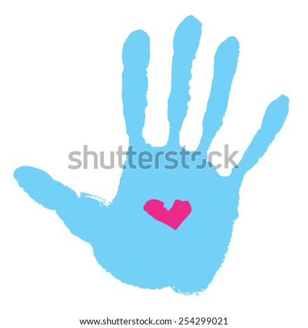 Abstract handprint with love symbol  - stock vector