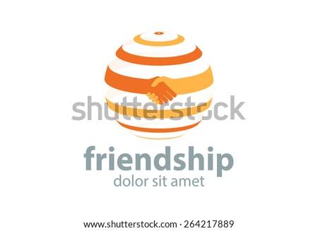 Abstract handshake circle logo. Successful business symbol. Vector - stock vector