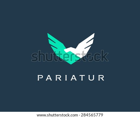 Abstract handshake, wings vector logo . Delivery, business, cargo, success, money, deal, contract, team, cooperation symbol icon. Corporate financial sign.