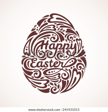 Abstract Happy Easter Lettering in Form of Egg. Vector Illustration. Easter Template Design, Greeting Card. - stock vector