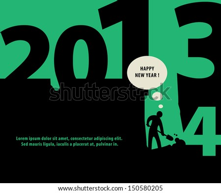 Abstract Happy New Year background, vector illustration - stock vector