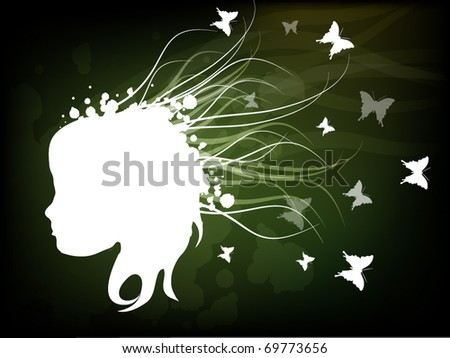 Abstract head of women with abstract shape in the hair with small butterflies - stock vector
