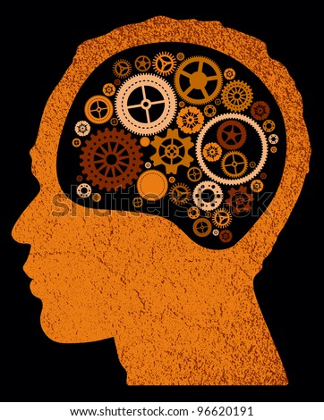 abstract head with cogs and gears. - stock vector