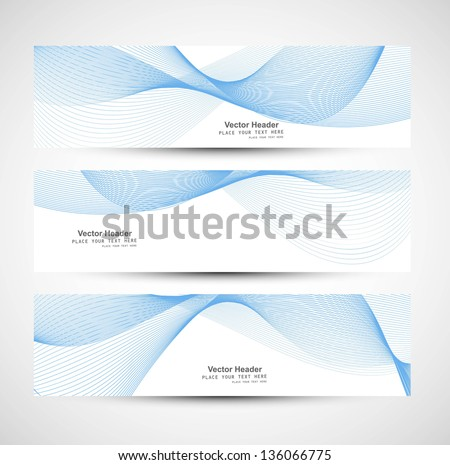 Abstract  header blue line wave whit vector design - stock vector