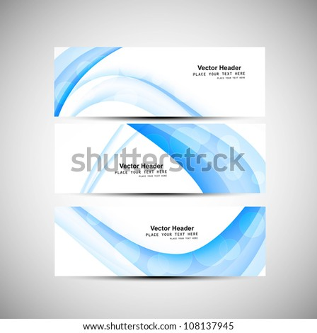 Abstract header blue wave vector background - stock vector