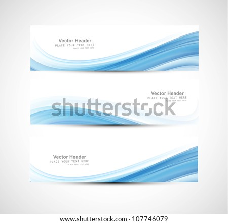 Abstract header blue wave vector design - stock vector