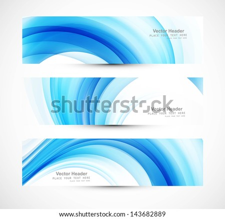 Abstract header blue wave vector illustration - stock vector